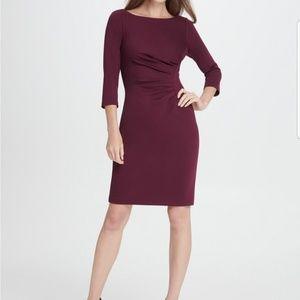 Ponte Side Ruche Sheath Dress